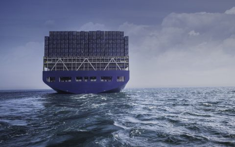Container ship moving on the sea